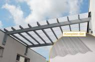 Komplettset Polycarbonat Wellplatten 76/18 klar Wabenstruktur hagelsicher