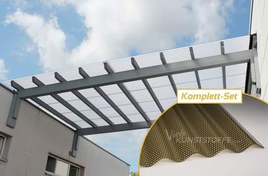 Komplettset Polycarbonat Welle 76/18 bronze Wabenstruktur hagelsicher