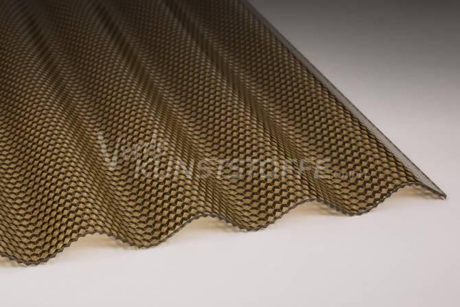 Acrylglas Lichtplatten 76/18 bronze Wabenstruktur